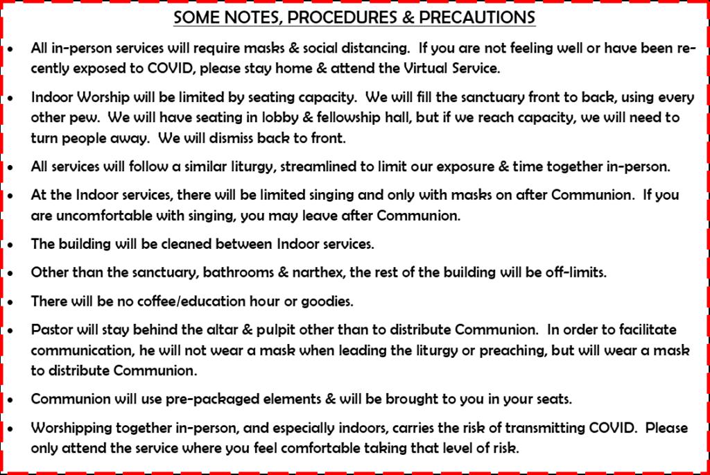 Notes Procedures and Precautions